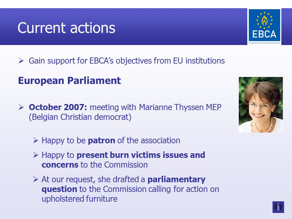 Current actions  Gain support for EBCA's objectives from EU institutions European Parliament  October 2007: meeting with Marianne Thyssen MEP (Belgian Christian democrat)  Happy to be patron of the association  Happy to present burn victims issues and concerns to the Commission  At our request, she drafted a parliamentary question to the Commission calling for action on upholstered furniture