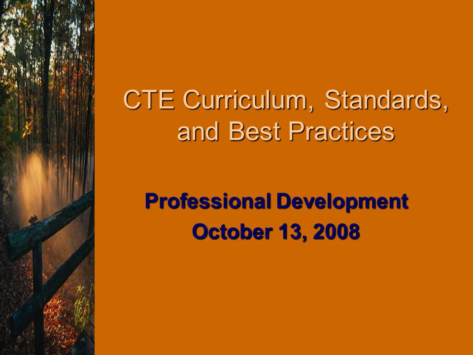 CTE Curriculum, Standards, and Best Practices Professional Development October 13, 2008