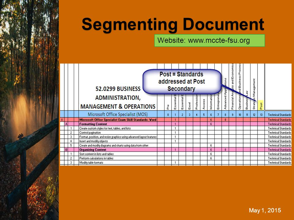 May 1, 2015 Segmenting Document Website: www.mccte-fsu.org