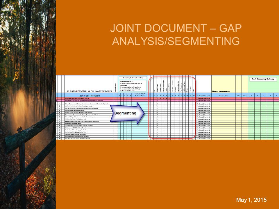 JOINT DOCUMENT – GAP ANALYSIS/SEGMENTING May 1, 2015