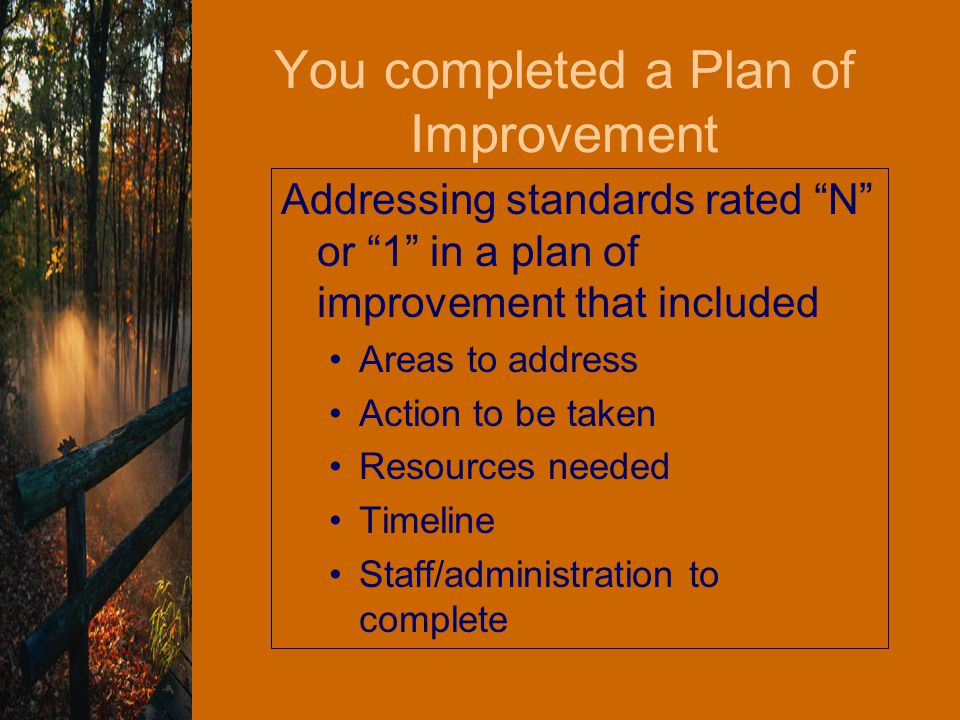 You completed a Plan of Improvement Addressing standards rated N or 1 in a plan of improvement that included Areas to address Action to be taken Resources needed Timeline Staff/administration to complete