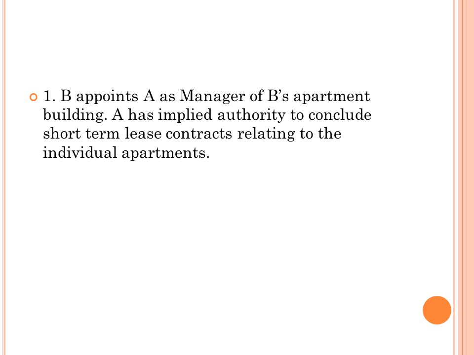 1. B appoints A as Manager of B's apartment building.