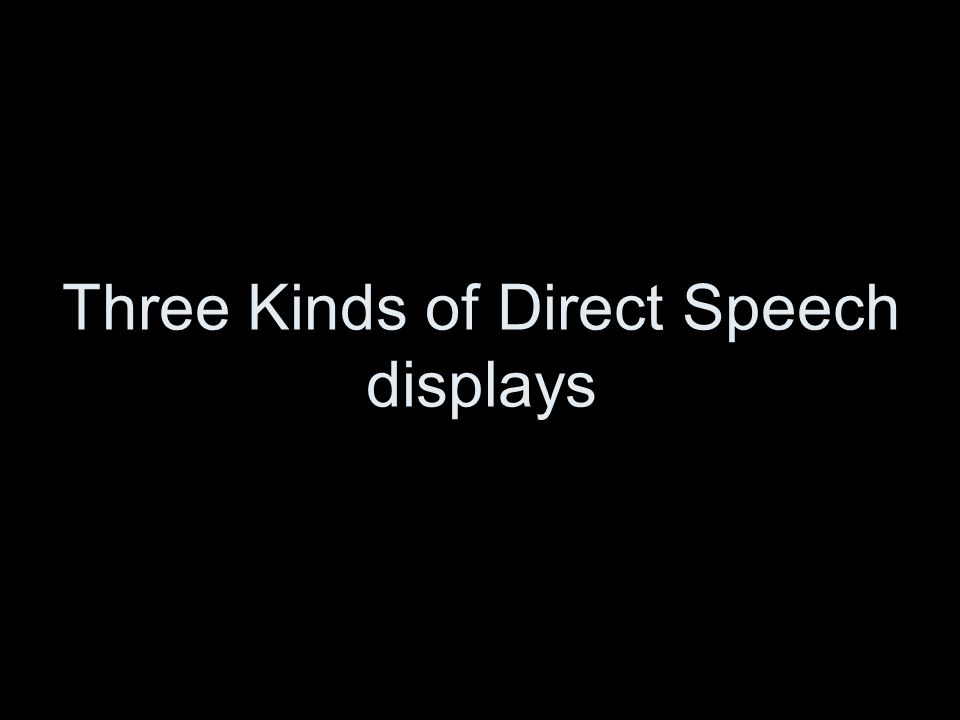 Three Kinds of Direct Speech displays
