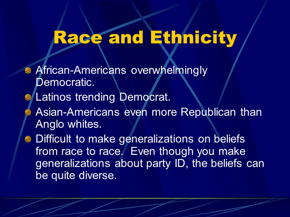 Race and Ethnicity African-Americans overwhelmingly Democratic.