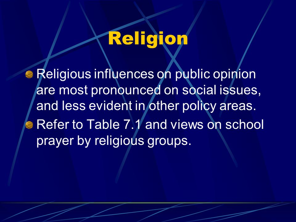Religion Religious influences on public opinion are most pronounced on social issues, and less evident in other policy areas.