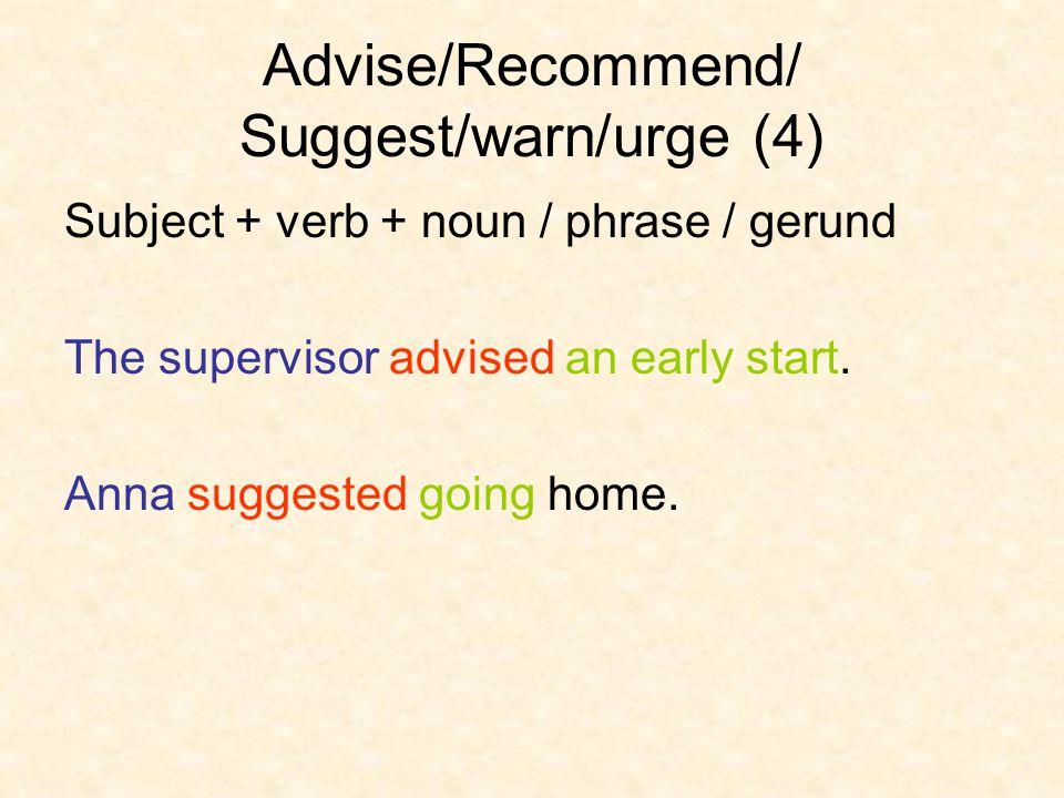 Advise/Recommend/ Suggest/warn/urge (5) Pattern AdviseRecommendSuggestUrgewarn 1 2 3 4