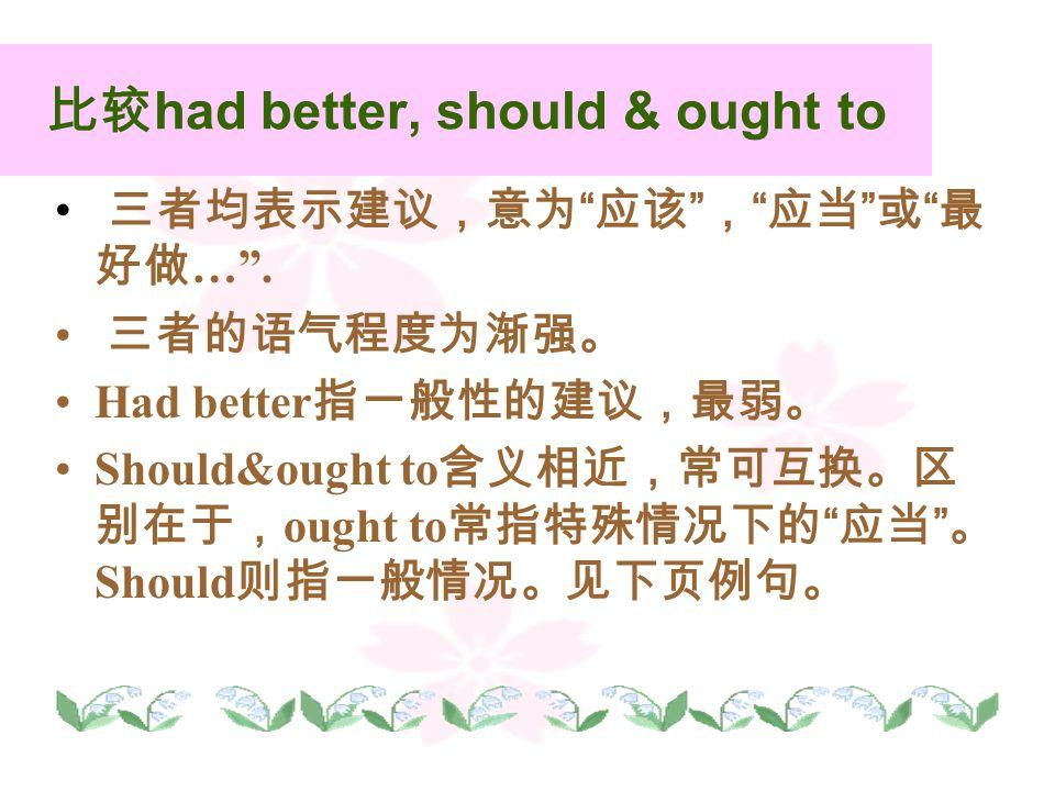比较 had better, should & ought to 三者均表示建议,意为 应该 , 应当 或 最 好做 … .