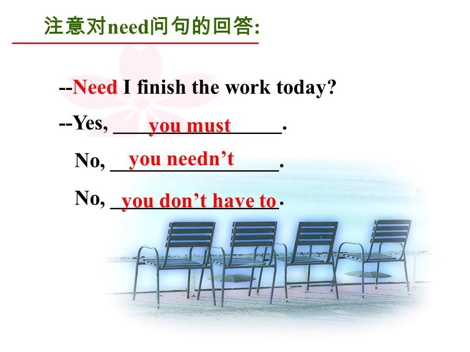 注意对 need 问句的回答 : --Need I finish the work today. --Yes, ________________.