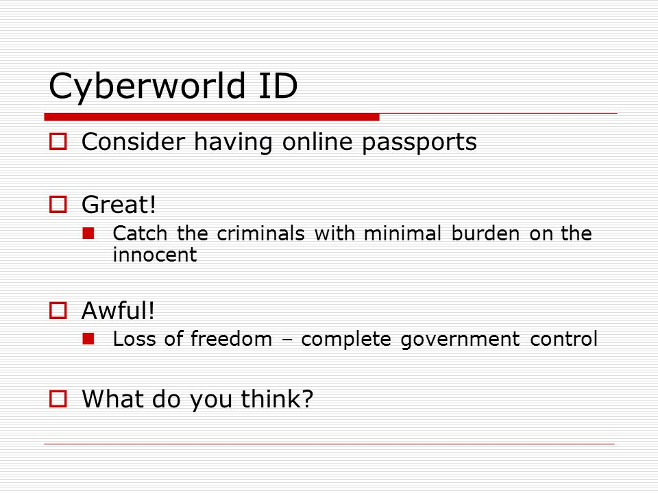 Cyberworld ID  Consider having online passports  Great.
