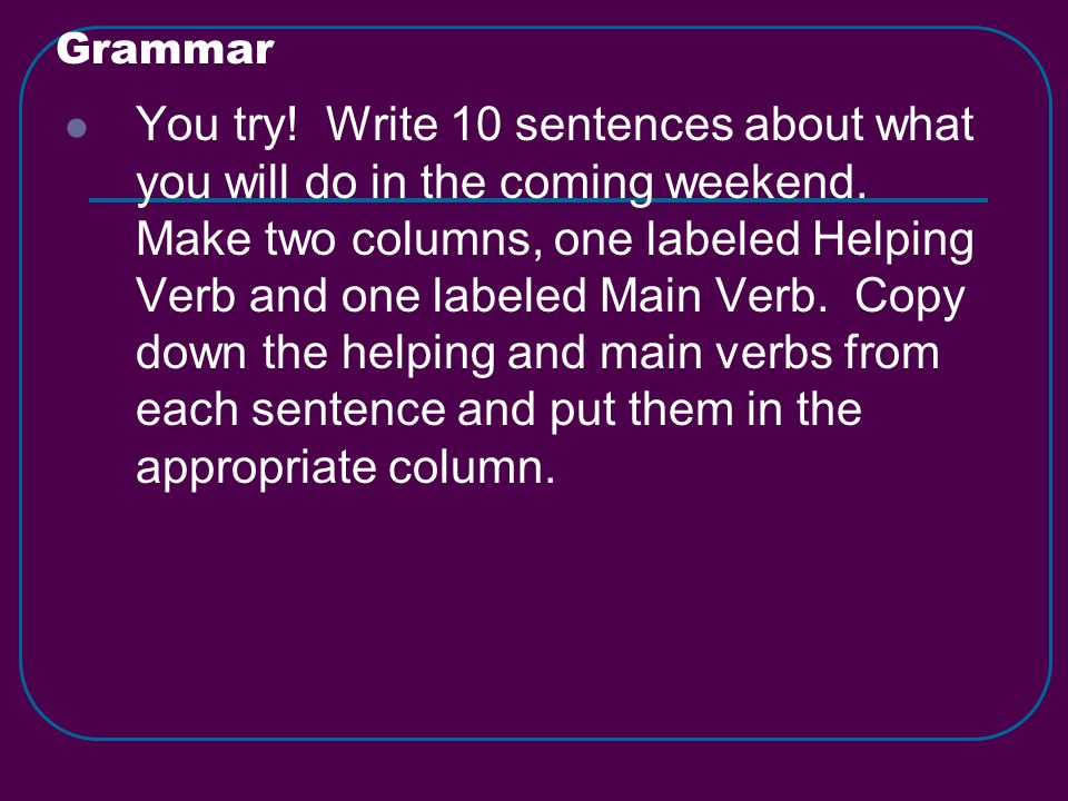 Grammar You try. Write 10 sentences about what you will do in the coming weekend.