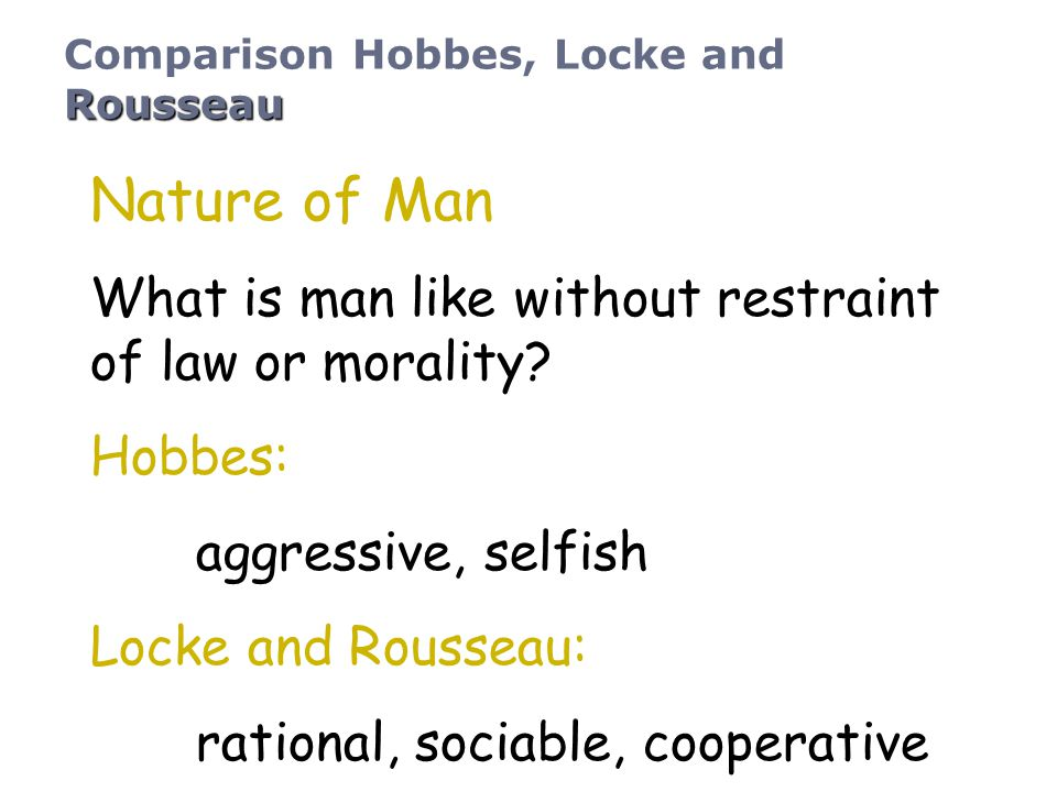 Nature of Man What is man like without restraint of law or morality? Hobbes: aggressive, selfish Locke and Rousseau: rational, sociable, cooperative R