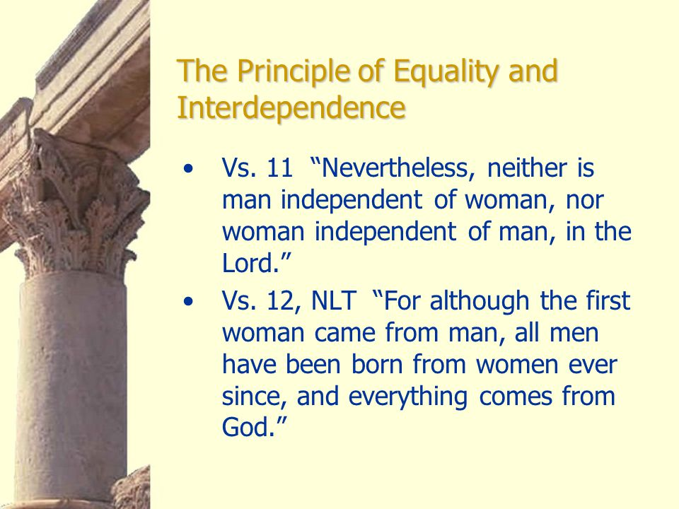 The Principle of Equality and Interdependence Vs.
