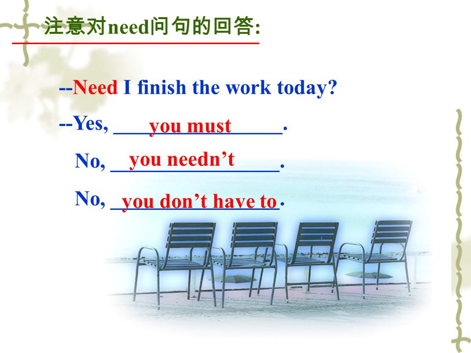 注意对 need 问句的回答 : --Need I finish the work today. --Yes, ________________.