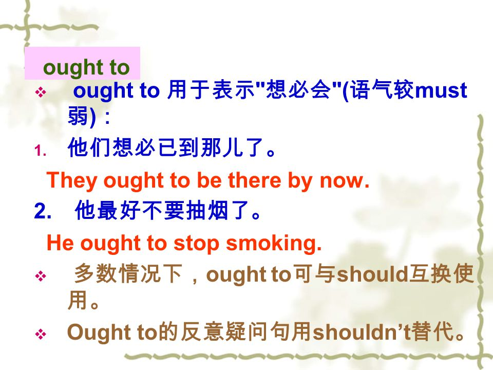 ought to  ought to 用于表示