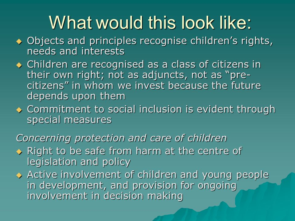 What would this look like:  Objects and principles recognise children's rights, needs and interests  Children are recognised as a class of citizens in their own right; not as adjuncts, not as pre- citizens in whom we invest because the future depends upon them  Commitment to social inclusion is evident through special measures Concerning protection and care of children  Right to be safe from harm at the centre of legislation and policy  Active involvement of children and young people in development, and provision for ongoing involvement in decision making