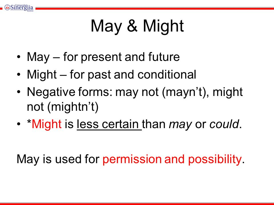 May – for permission e.g.I may go. To make past we use allow (not might) e.g.