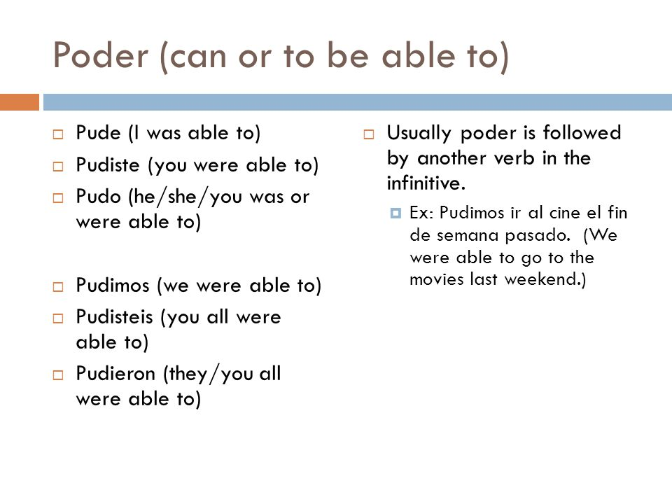 Poder (can or to be able to)  Pude (I was able to)  Pudiste (you were able to)  Pudo (he/she/you was or were able to)  Pudimos (we were able to)  Pudisteis (you all were able to)  Pudieron (they/you all were able to)  Usually poder is followed by another verb in the infinitive.