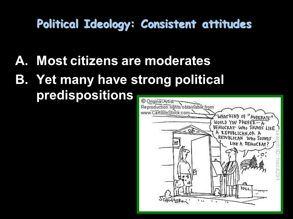 Political Ideology: Consistent attitudes A.Most citizens are moderates B.Yet many have strong political predispositions