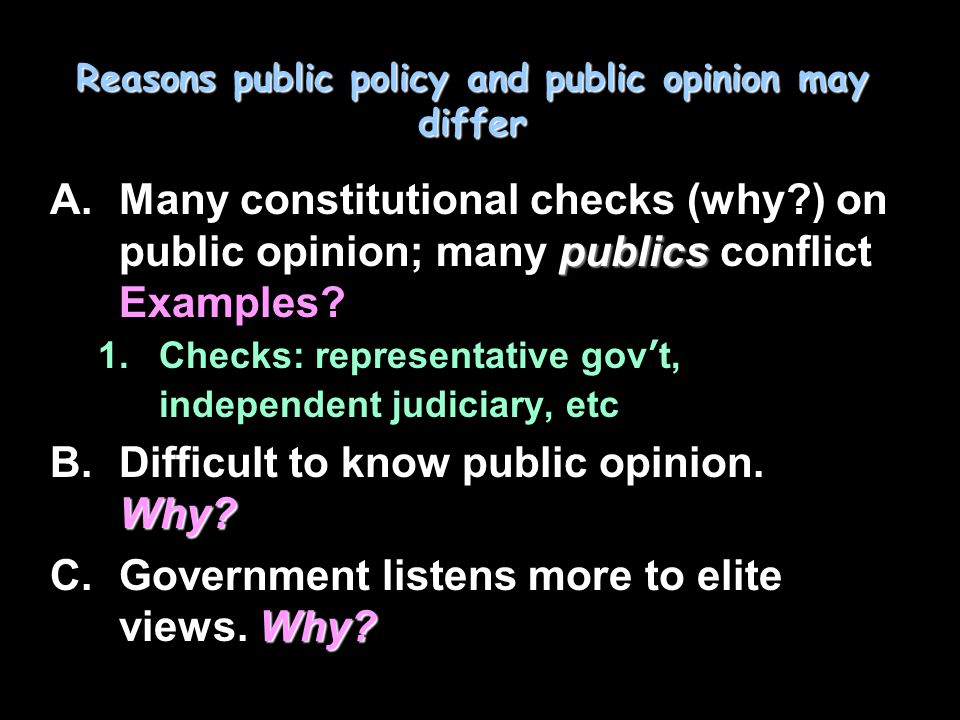 Influences and LIMITATIONS A.Public ignorance: Monetary Control Bill ruse, EXPLAIN B.Importance of wording of questions in polls: affects answer… EXPLAIN C.Instability of public opinion –Al's kiss D.Public has more important things to think about  need clear-cut political choices