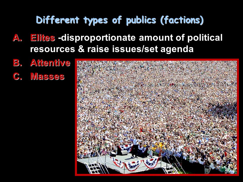 Different types of publics (factions) A.Elites A.Elites -disproportionate amount of political resources & raise issues/set agenda B.Attentive C.Masses