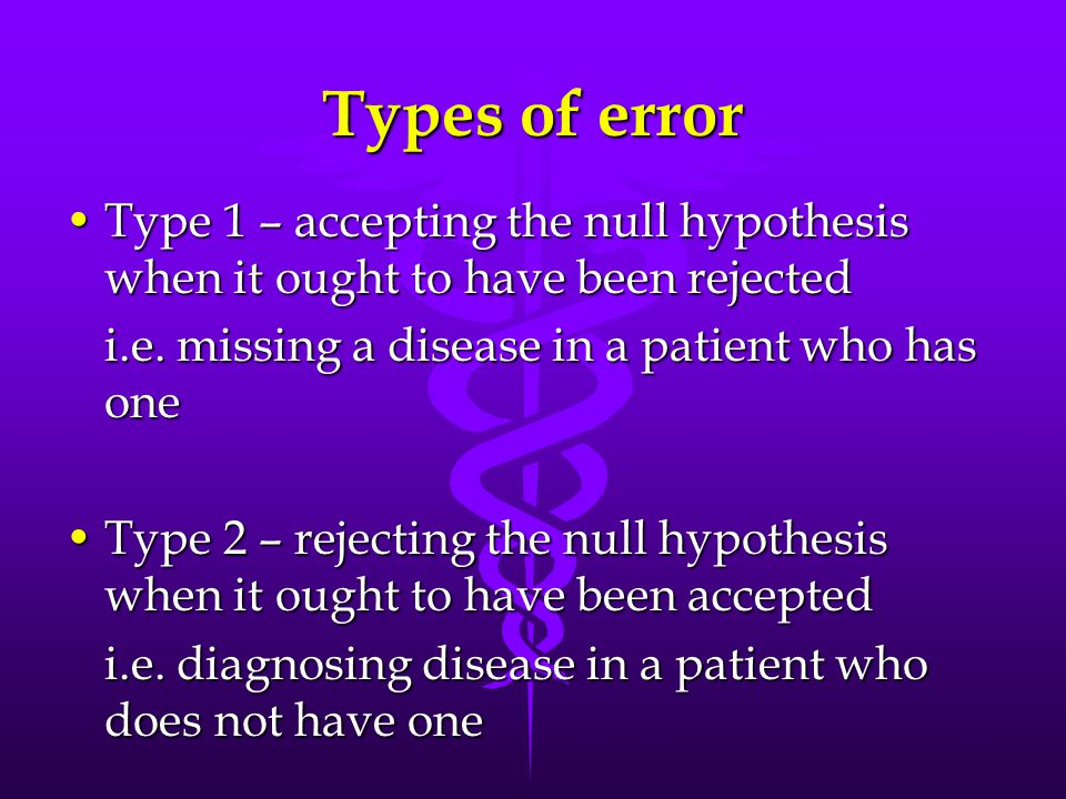 Types of error Type 1 – accepting the null hypothesis when it ought to have been rejectedType 1 – accepting the null hypothesis when it ought to have been rejected i.e.