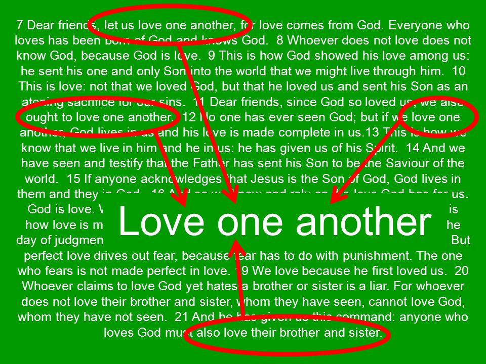 We must love one another God's love in us must flow out to others Loving others proves God's love is in us It is a command from God