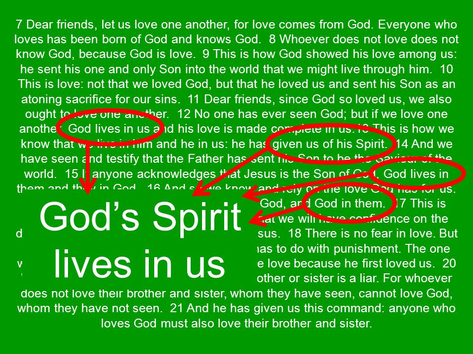 We cannot see God but we can know Him in our lives He lives in us by His Spirit When he lives in us then we also live in Him