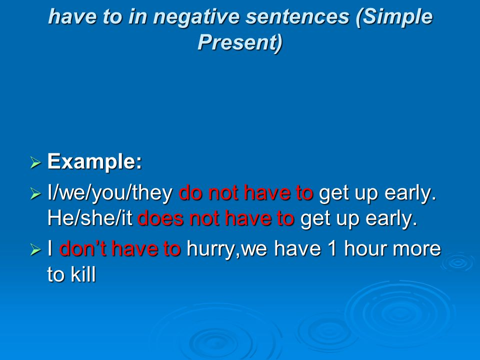 have to in negative sentences (Simple Present)  Example:  I/we/you/they do not have to get up early.