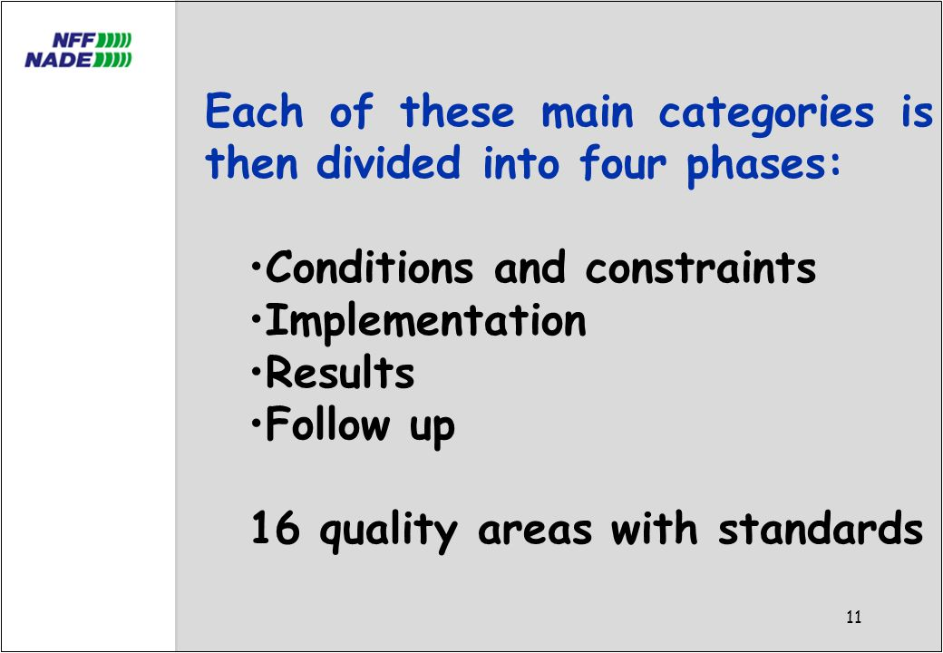11 Each of these main categories is then divided into four phases: Conditions and constraints Implementation Results Follow up 16 quality areas with standards