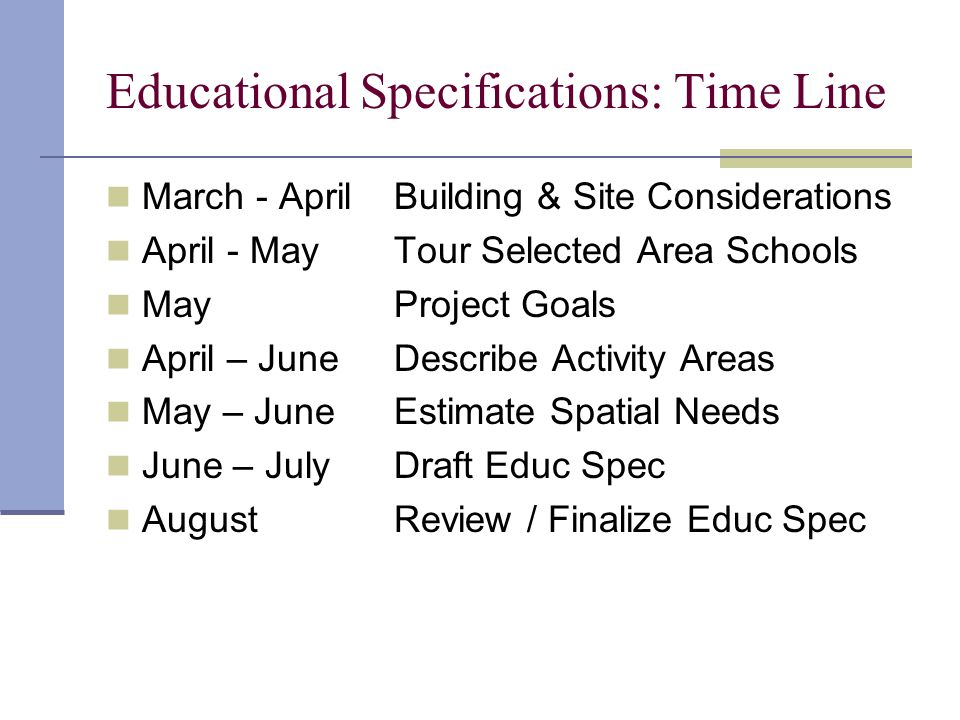 Educational Specifications: Time Line March - AprilBuilding & Site Considerations April - MayTour Selected Area Schools MayProject Goals April – JuneDescribe Activity Areas May – JuneEstimate Spatial Needs June – JulyDraft Educ Spec AugustReview / Finalize Educ Spec