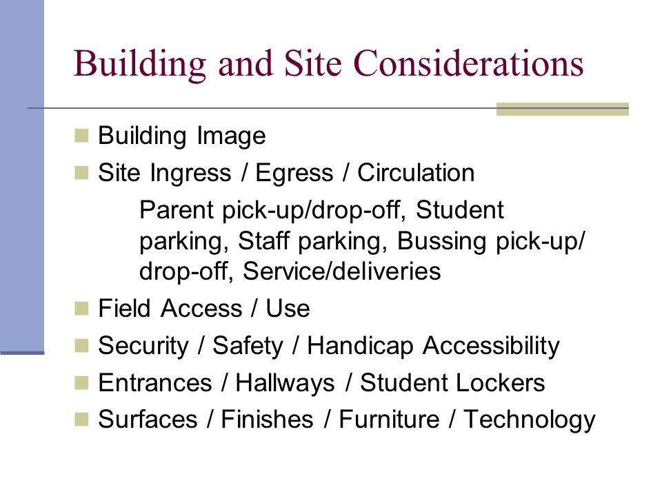 Activity Area Needs Goals Planned Usage Number of Users Required Staff Groupings Simultaneous Groupings Relationship to Other Activities Spatial Needs Support Facilities Environmental Variables / Needs Utilities Storage / Display Furniture / Equipment