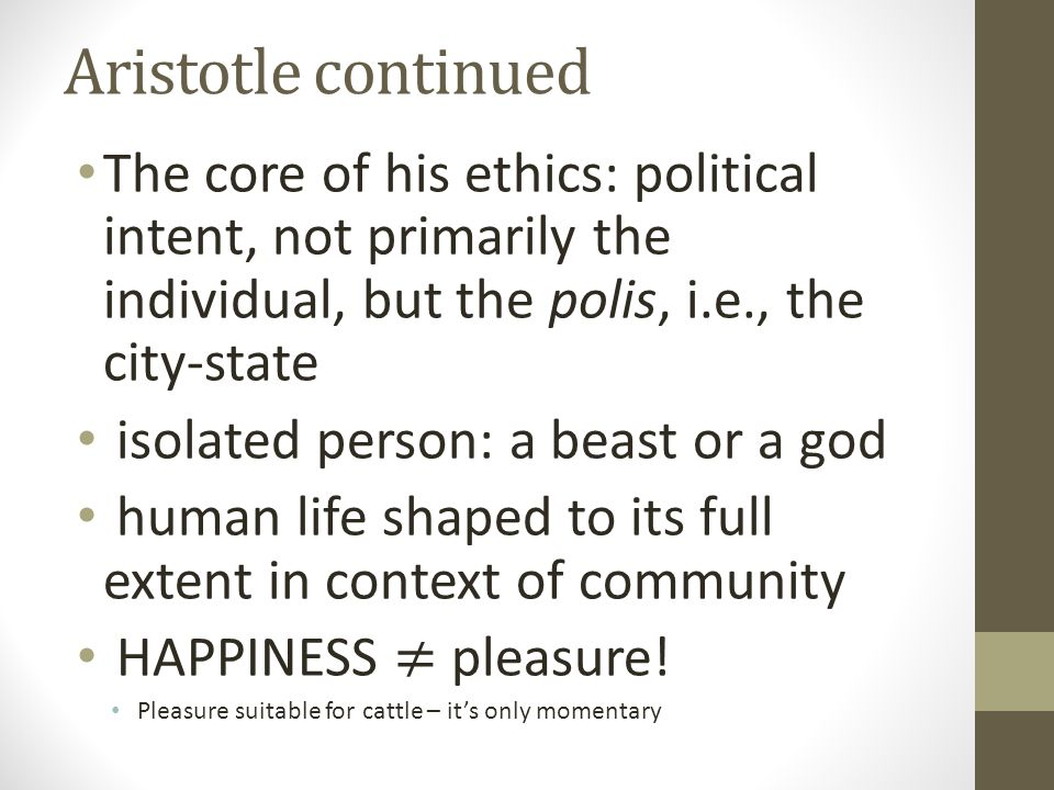 Aristotle continued
