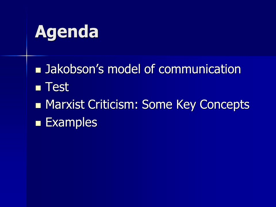 Agenda Jakobson's model of communication Jakobson's model of communication Test Test Marxist Criticism: Some Key Concepts Marxist Criticism: Some Key