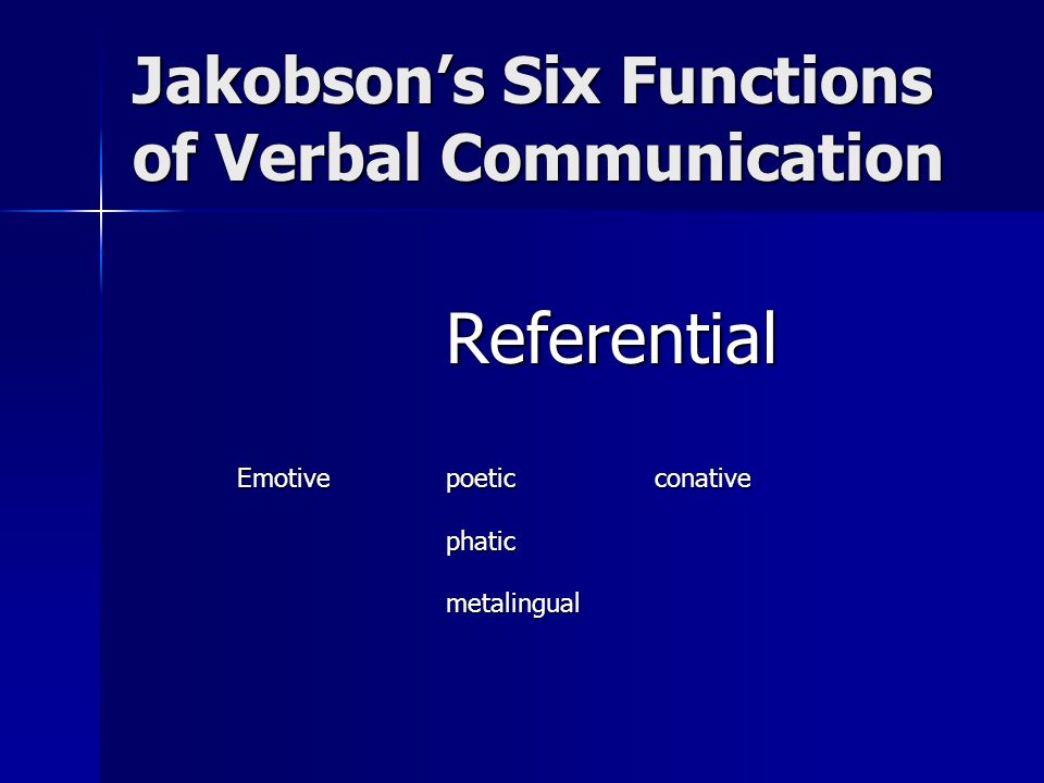 Jakobson's Six Functions of Verbal Communication Referential Emotivepoeticconative phaticmetalingual