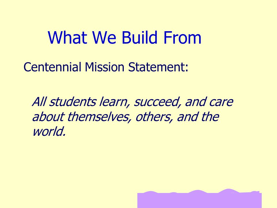 What We Build From All students learn, succeed, and care about themselves, others, and the world.