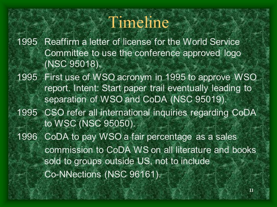 11 Timeline 1995Reaffirm a letter of license for the World Service Committee to use the conference approved logo (NSC 95018). 1995First use of WSO acr