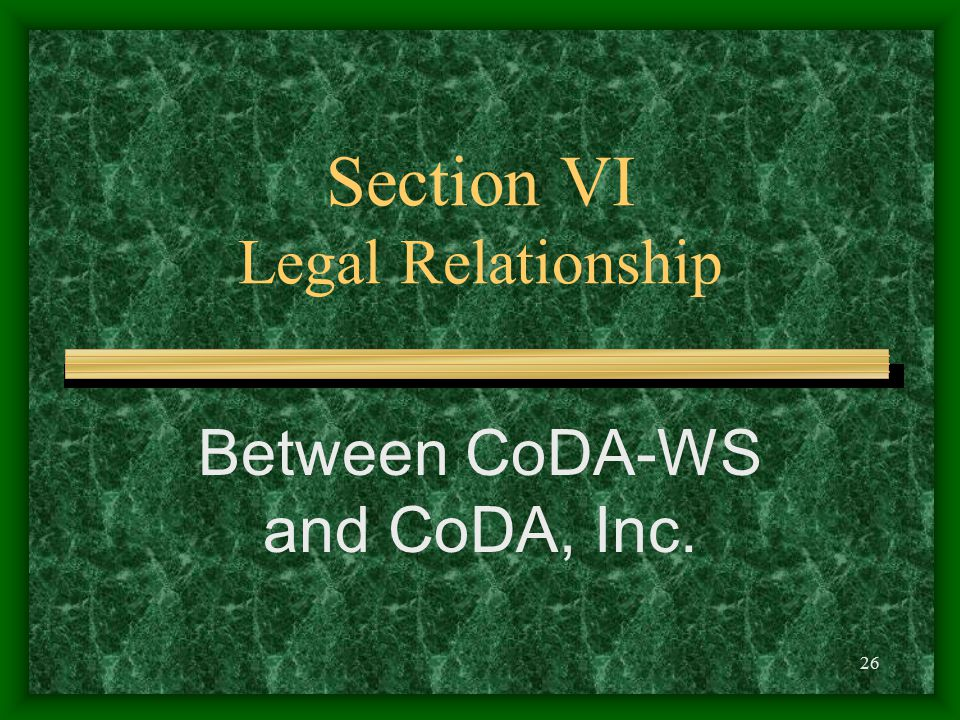 26 Section VI Legal Relationship Between CoDA-WS and CoDA, Inc.