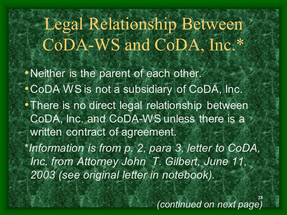 28 Legal Relationship Between CoDA-WS and CoDA, Inc.* Neither is the parent of each other. CoDA WS is not a subsidiary of CoDA, Inc. There is no direc