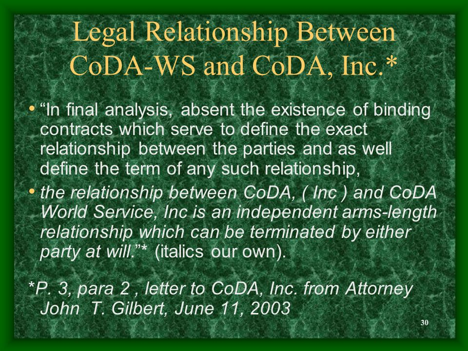 30 Legal Relationship Between CoDA-WS and CoDA, Inc.* In final analysis, absent the existence of binding contracts which serve to define the exact relationship between the parties and as well define the term of any such relationship, the relationship between CoDA, ( Inc ) and CoDA World Service, Inc is an independent arms-length relationship which can be terminated by either party at will. * (italics our own).