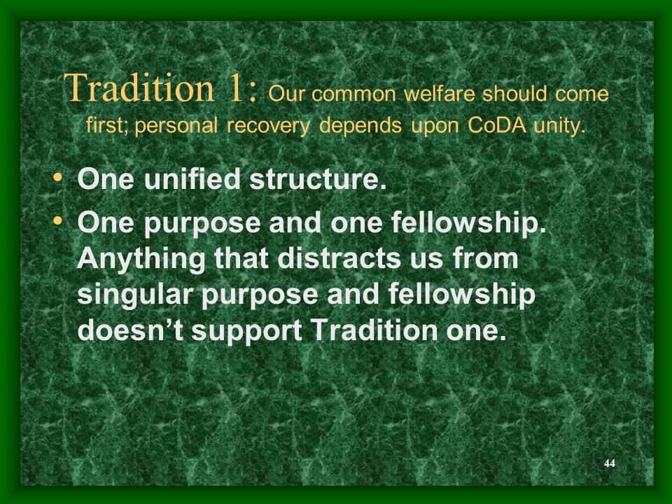 44 Tradition 1: Our common welfare should come first; personal recovery depends upon CoDA unity.