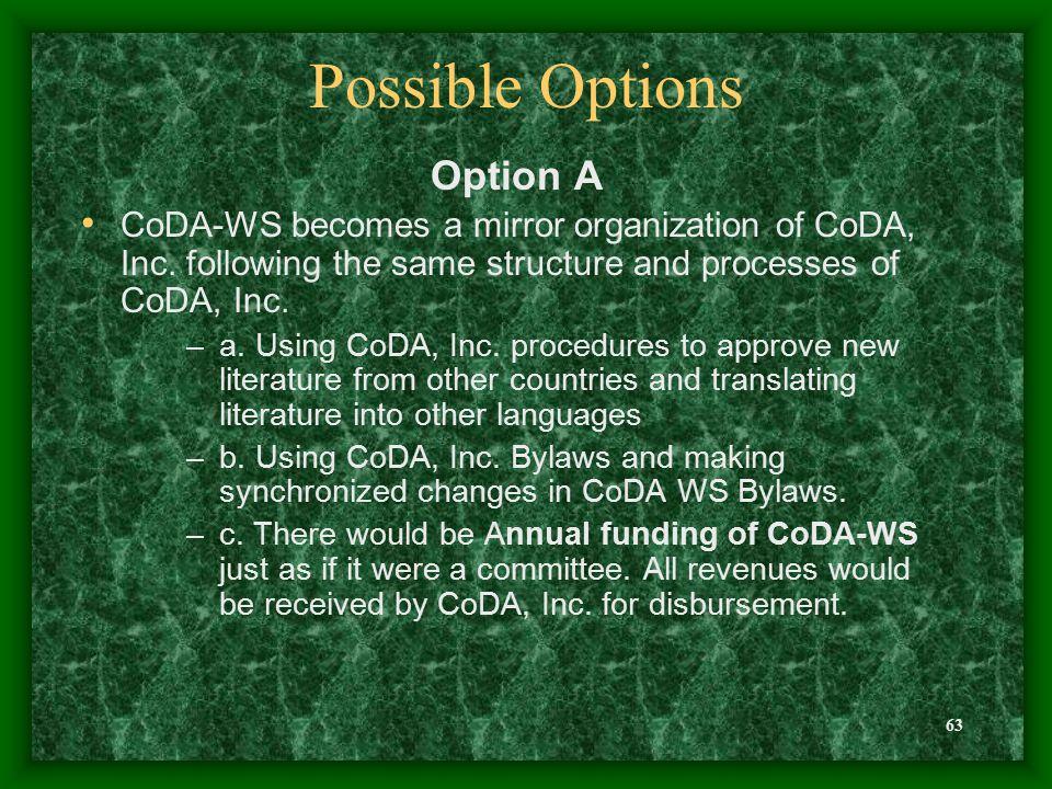 63 Possible Options Option A CoDA-WS becomes a mirror organization of CoDA, Inc.