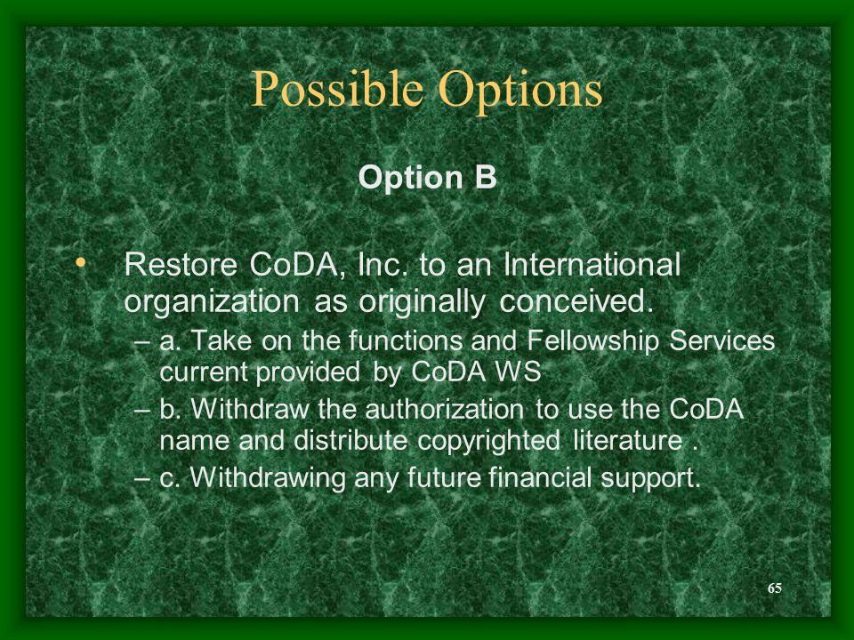 65 Possible Options Option B Restore CoDA, Inc.