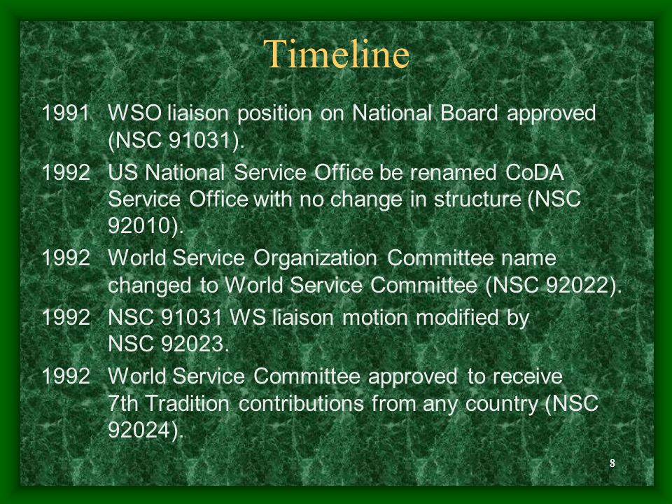 8 Timeline 1991WSO liaison position on National Board approved (NSC 91031). 1992US National Service Office be renamed CoDA Service Office with no chan
