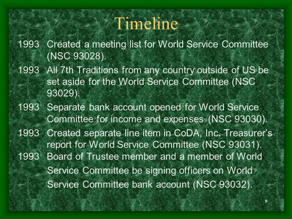 9 Timeline 1993Created a meeting list for World Service Committee (NSC 93028). 1993All 7th Traditions from any country outside of US be set aside for