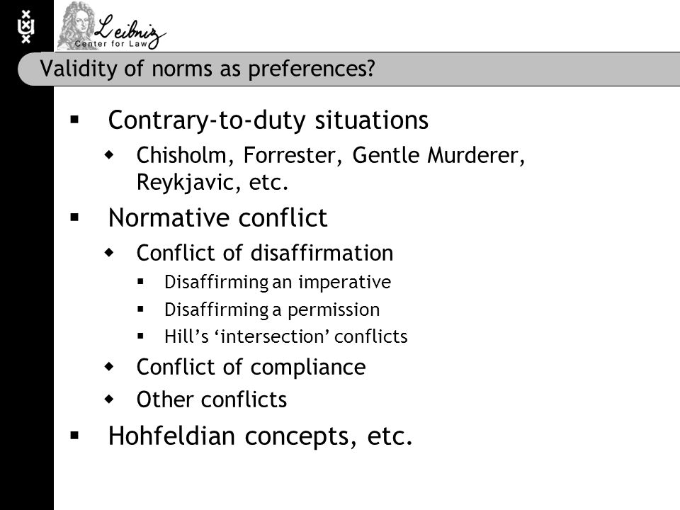 Validity of norms as preferences.