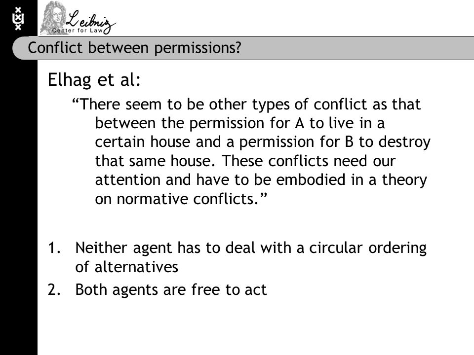 """Conflict between permissions? Elhag et al: """"There seem to be other types of conflict as that between the permission for A to live in a certain house a"""