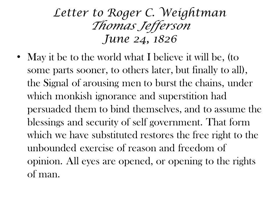 Letter to Roger C.
