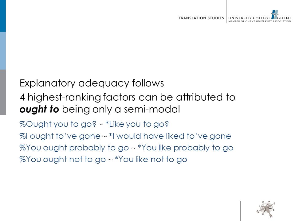 Explanatory adequacy follows 4 highest-ranking factors can be attributed to ought to being only a semi-modal %Ought you to go.
