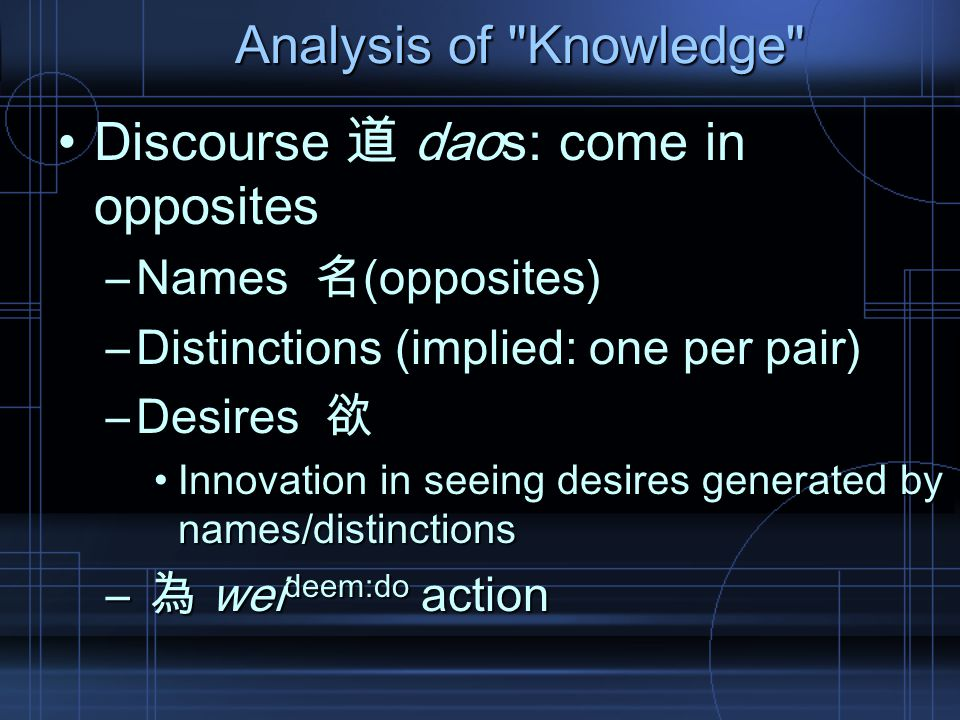 Analysis of Knowledge Discourse 道 daos: come in oppositesDiscourse 道 daos: come in opposites –Names 名(opposites) –Distinctions (implied: one per pair) –Desires 欲 Innovation in seeing desires generated by names/distinctionsInnovation in seeing desires generated by names/distinctions – 為 wei deem:do action