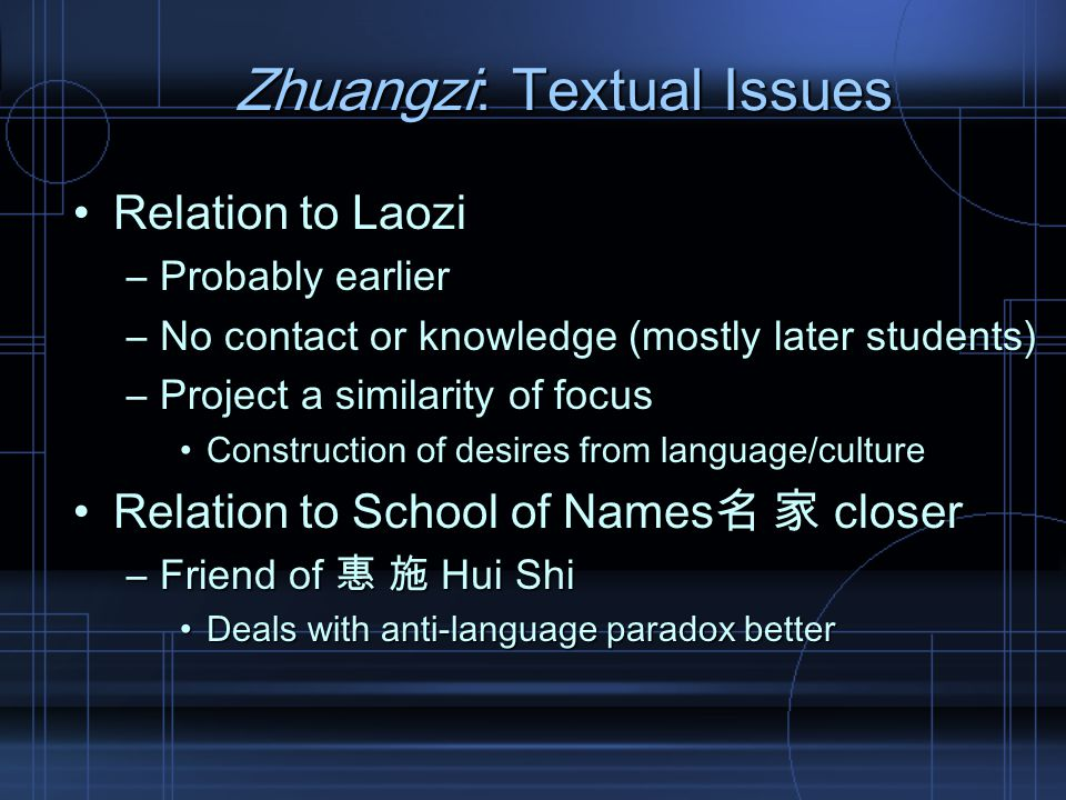 Zhuangzi: Textual Issues Relation to LaoziRelation to Laozi –Probably earlier –No contact or knowledge (mostly later students) –Project a similarity o
